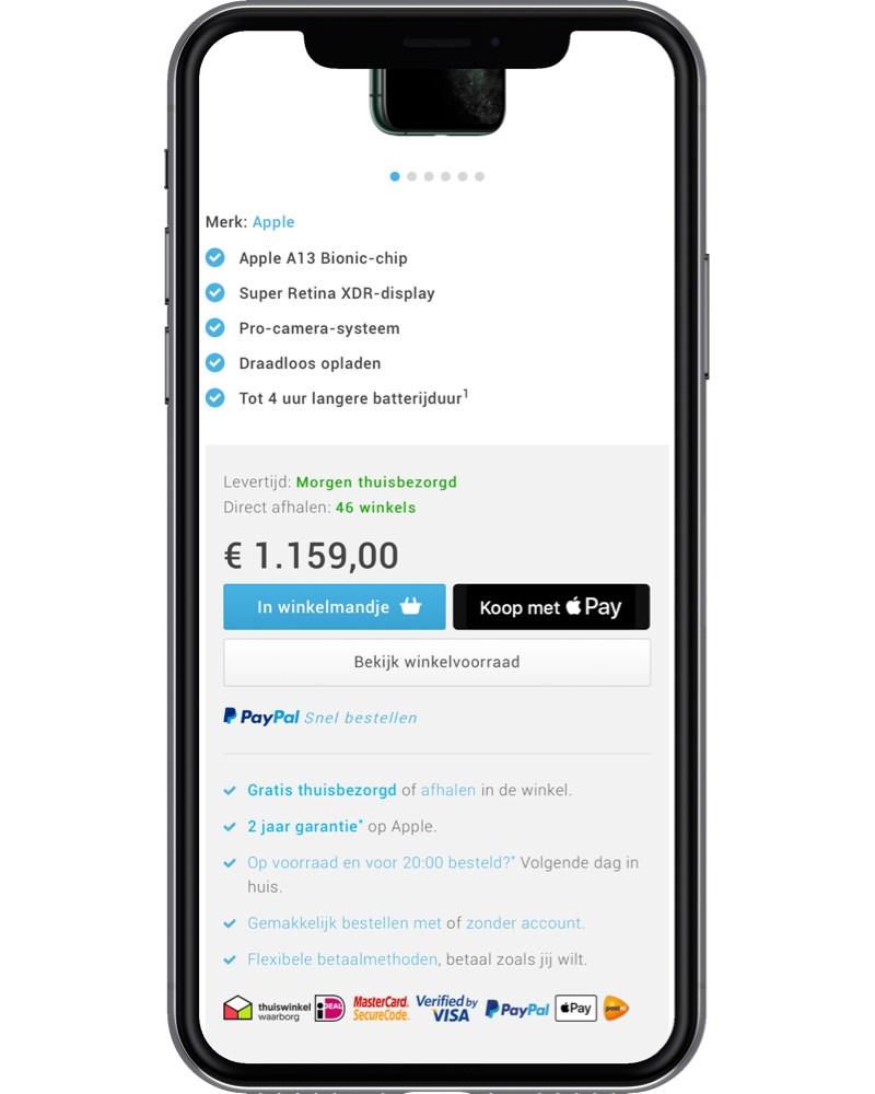 Apple Pay fast checkout voorbeeld