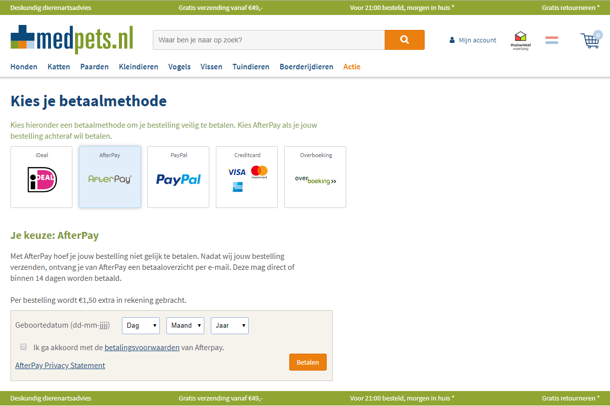 Achteraf betalen in checkout AfterPay